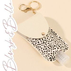 2/$26 White Cheetah Leather Sanitizer Keychain
